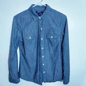 old Navy Blouse Blue Chambray White Polka Dot  XS.
